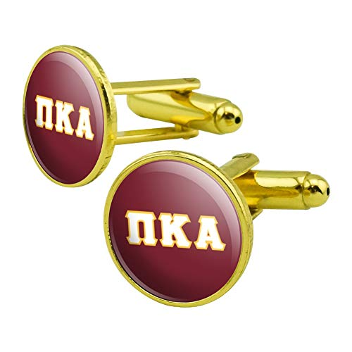 (GRAPHICS & MORE Pi Kappa Alpha Fraternity Greek Letterform White Yellow Round Cufflink Set Gold Color)