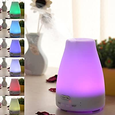 7 Colors Aromatherapy Essential Oil Diffuser - 100 Milliliter Ultrasonic Cool Mist Aroma Humidifier with Waterless Auto Shut off and Color Changing LED lights for Home Office Bedroom