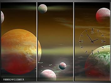 3 piezas lienzo Imágenes Reloj de pared planetas - cuadro de lienzo restaurante Oficina Hotel Salón de Universidad doméstica Reloj 111 x 80 lwb437: ...