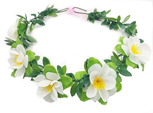 RoyaLily White Hawaiian Plumeria Flower Crown Boho Beach Wedding Vacation Floral Halo (White)