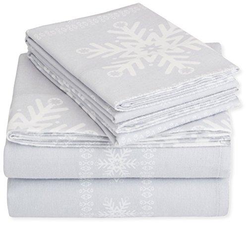 Nick & Nora Sheet Set - Pinzon Cotton Flannel Bed Sheet Set - Twin, Snowflake Grey