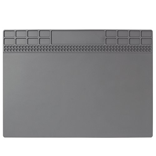 Mat Soldering - Heat Insulation Silicone Repair Mat Premium Magnetic Soldering Mat Heat Resistant 932°F Electronics Mat for Soldering Iron, Phone and Computer Repair 13.8'' x 9.8'' Gray