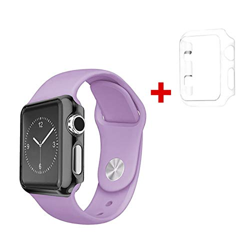 ble W/Apple Watch [iWatch] Series 1, 2 & 3 Full TPU Screen Protector Case + Color Wristband Replacement Protective Active Sports Protection Accessories Cover Combo (Purple, 38mm) ()