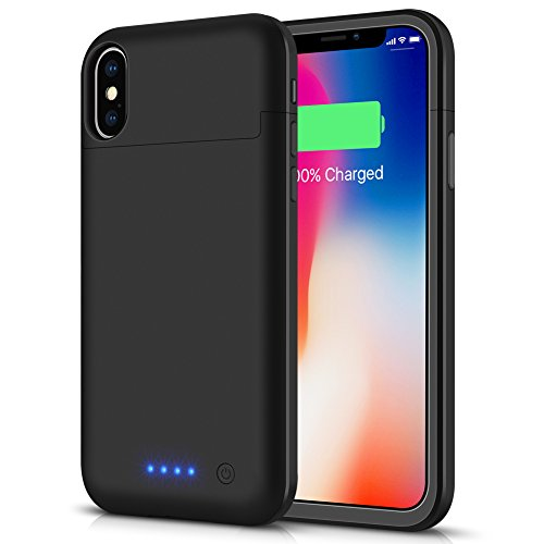 Battery Case for iPhone X/Xs/10, LCLEBM 5200mAh Portable Protective Charging Case Compatible with iPhone X/Xs/10 (5.8 inch) Rechargeable Extended Battery Charger Case-Black