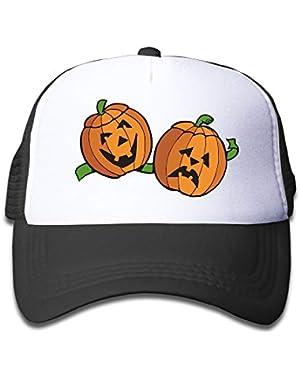 Halloween Pumpkin On Boys and Girls Trucker Hat, Youth Toddler Mesh Hats Baseball Cap