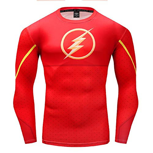 The Flash Shirt Men's Long Sleeve Sports Outdoor 3D Print Compression Shirt (Red, XXXX-Large) (The Flash Sports Shirt)