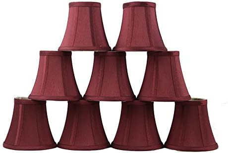 Urbanest Set of 9 Chandelier Mini Lamp Shades 5-inch, Bell, Clip On, Burgundy