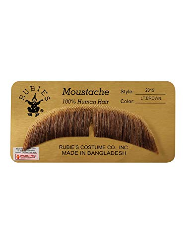 Mustache Halloween Costume (Rubie's BASIC CHARACTER MUSTACHE, LIGHT BROWN [Apparel] White One)