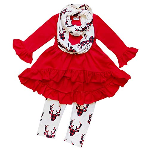 So Sydney Toddler Girls 3 Pc Hi Lo Christmas Holiday Ruffle Tunic Outfit, Scarf (L (5), Buffalo Plaid Deer)