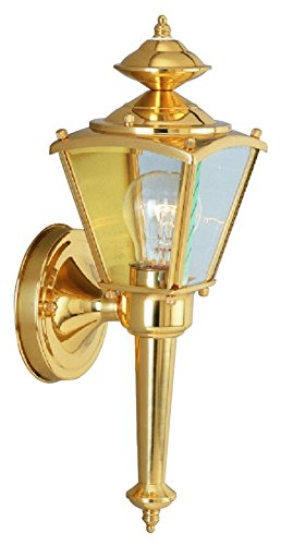 Boston Harbor 4003H2 3081395 Dimmable Outdoor Lantern, (1) 60/13 W Medium A19/Cfl Lamp, Polished, Brass