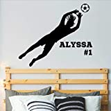 Personalized Girls Soccer Goalie Wall Decal, Girl Soccer Room Decor, Over 30 Colors, Several Sizes