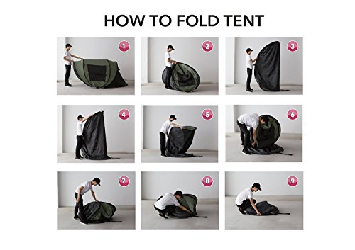 DANCHEL Instant 4-5 Person Pop Up Camping Tent, Green – Set Up in Lightning Speed for Family Camping, Hiking, Outdoors, Festivals