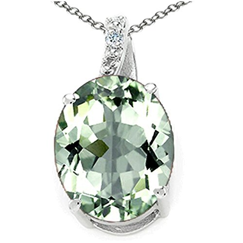 Green Amethyst Diamond Pendant (Tommaso Design Oval 10x8mm Green Amethyst Pendant Necklace 14 kt White Gold)