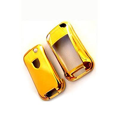 GHXSport Gold Plated Chrome Color Flip Key Remote Key Protection Case for Porsche Cayenne Turbo S GTS V6 V8: Automotive