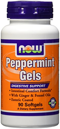 NOW Foods Peppermint Gels with Ginger & Fennel Oils,  90 Softgels (Peppermint Oil Capsules)