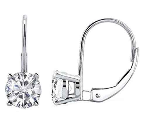 1.00 CTW IGI Certified Round White Diamond Leverback Earrings in 14K White Gold