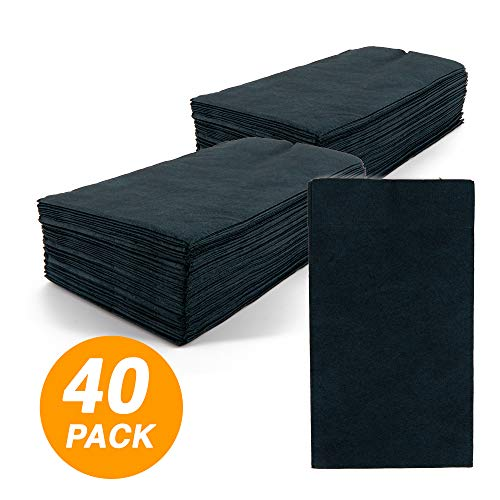 SparkSettings Big Party Pack Tableware 2 Ply Guest Towels Hand Napkins Paper Soft and Absorbent Decorative Hand Towels for Kitchen and Parties 40 Pieces Jet Black
