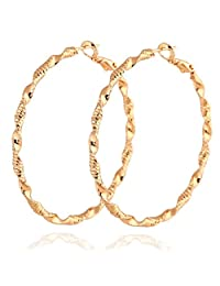 Women Golden/White Twisted Carving Hoop Round Big Earrings Gold Plated Gift New Boucles D'oreilles