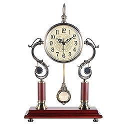 Rxbdk Clock Desk Pendulum European Style Retro Mute Living Room Bedroom Creative Fashion Decoration Metal