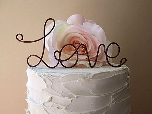 LOVE Oxidized Copper Wedding Cake Topper, Wedding Cake Decoration, Anniversary Cake Topper, Engagement Part Cake Topper, by AntoArts