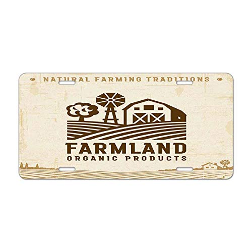 Mugod Vintage Farmland Label Aluminum License Plate Clipping Mask and Transparency in Retro Woodcut Style Decorative Car License Plate Cover with 4 Holes Car Tags 6
