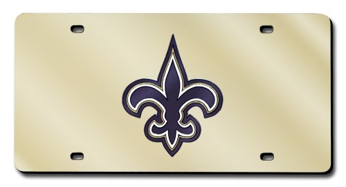 Rico Industries NFL New Orleans Saints Laser Inlaid Metal License Plate Tag (New Orleans Saints License Plate)