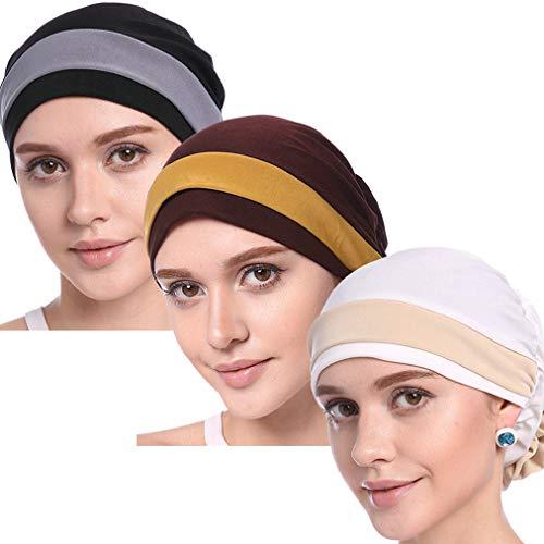 YI HENG MEI Women's Elegant Strench Flower Block Color Muslim Turban Chemo Cancer Cap,Pack of -