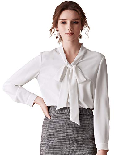 7febbc9ae532 ROEYSHOUSE Women Blouse Chiffon Bow Tie Neck Shirts Ladies Work Tees Long  Sleeves Button-Down