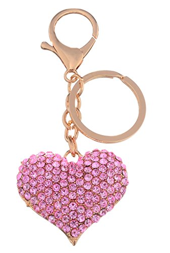 Giftale Pink Love Heart Handbag Charms Keychain for Women Purse Accessories,#526-22
