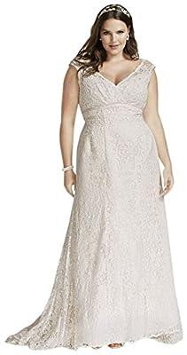 Beaded Cap Sleeve Lace Plus Size Wedding Dress Style 9T9612
