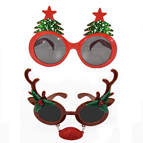 Christmas Sunglasses Props, 2 Pack Cartoon Reindeer Xmas Tree Eyeglasses Costume Glasses for New Year Party Favors Ornaments Gift