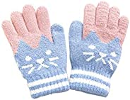Shen Kids Winter Gloves Mittens Knitted Five Finger Warm Gloves for Kids, Infants, and Toddler 3-6 Years Old