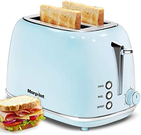 Toaster 2 Slice,Compact Bread Toasters with 6 Browning Settings & Stainless Steel Housing , Bagel Defrost Cancel Function Removable Crumb Tray, Blue