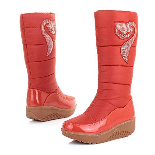 Giy Donna Inverno Metà Polpaccio Alto Impermeabile Stivali Da Neve Rian Foderato Di Pelliccia Moda Fox Rhinestone Neve Boot Arancione