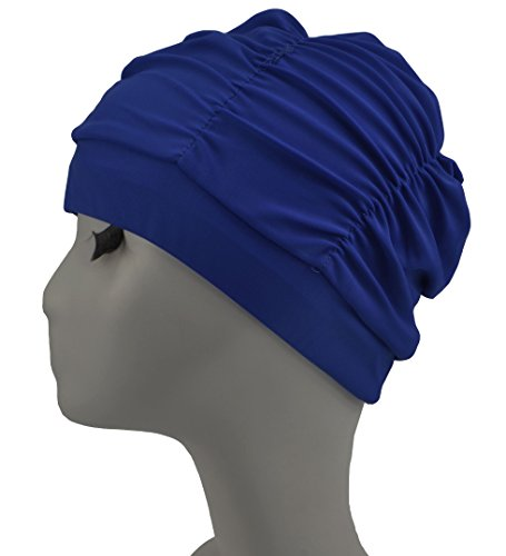 Swim Cap Long Hair Ear Wrap Waterproof Hat For Women And Men Y002 Peacock Blue