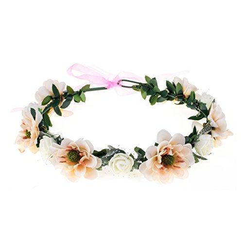 - June Bloomy Rose Flower Leave Crown Bridal Halo Headband with Adjustable Ribbon (Ivory)