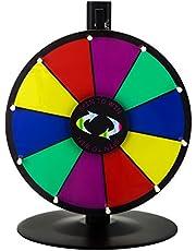 Happybuy 24Inch Tabletop Color Premio Rueda con Plegable trípode Soporte de Suelo 14Ranuras Colorful Feria de borrado en seco Fortuna Spinning Premio Rueda para Spin Juego Carnaval
