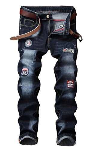 Men's Fashion Patchwork Jeans 929 Dark Blue 29 ()