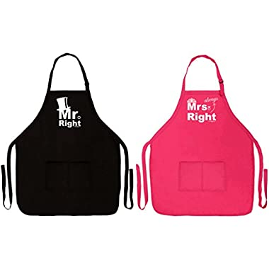Bridal Shower Gift Mr Mrs Always Right Couples Apron for Cooking Baking Two Pocket Apron for Couple Black