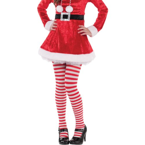 Fun-Filled Christmas and Holiday Party Candy Stripe Tights - Child , Red-White, Nylon , Pack of 1 (Holiday Theme Party Costume)