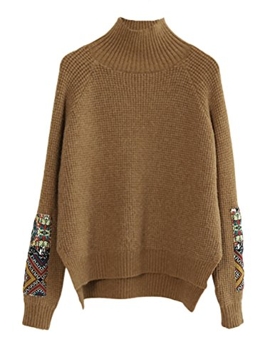 Minibee Women's Knit Patchwork Top Turtleneck Ribbed Pullover Sweaters Fit XS-L Khaki