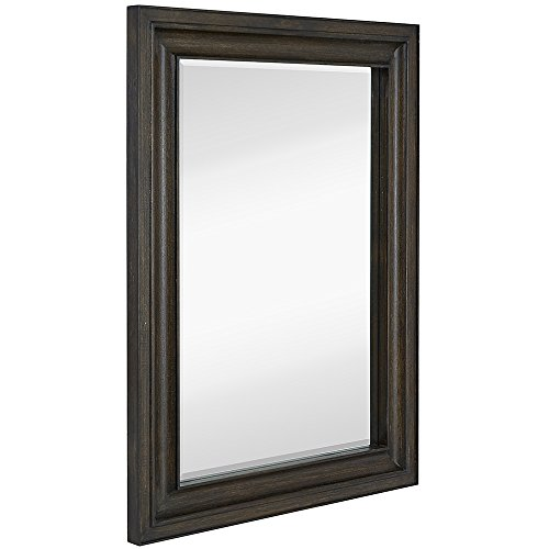 Classics Designer Wood (Hamilton Hills Thick Rich Dark Wenge Wood Framed Mirror | Classic Design Hanging Horizontal or Vertical Mirrored Plate for Bathroom Bedroom Entryway (30x40))