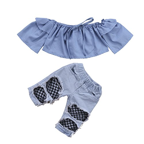 Off Tops Pants Jeans - Newborn Kids Baby Girls Off Shoulder Tops Denim Pants Hole Jeans Outfits Toddler Infant Clothes (Blue, 12-18Months)