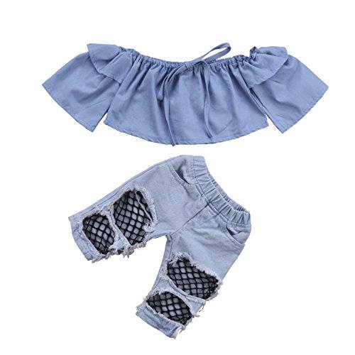 Emmababy Newborn Kids Baby Girls Off Shoulder Tops Denim Pants Hole Jeans Outfits Toddler Infant Clothes (Blue, (Denim Girls Top)