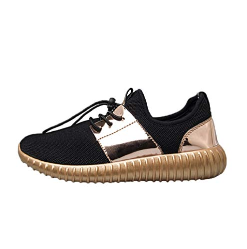 Women Leather Mesh Patchwork Sport Shoes Lace-up Tennis Walking Running Casual Sneakers JHKUNO Gold