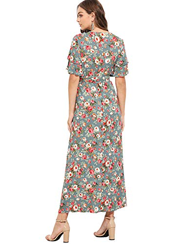 Print Boho Multicolor Vintage Split Waist Women's Dress Maxi Tie 2 Milumia pagFZq
