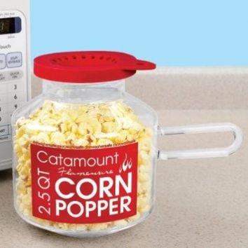 Catamount Glassware CG4526 Classic Design Microwave Corn Popper, 2.5-Quart, Red
