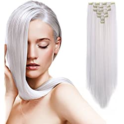 """Onedor 24"""" Straight Synthetic Clip in Hair Extensions. 7 individual pieces for multiple styles.140g (1001#-White)"""