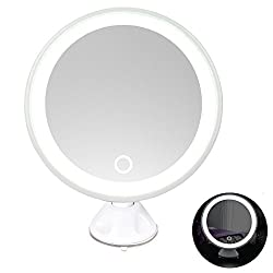 Rantizon LED Makeup Mirror 7X Magnifying Lighted Illuminated Cosmetic Rechargeable Mirror 360° Rotation Adjustable Suction Mounted Shaving Mirror Tabletop Bathroom Mirror