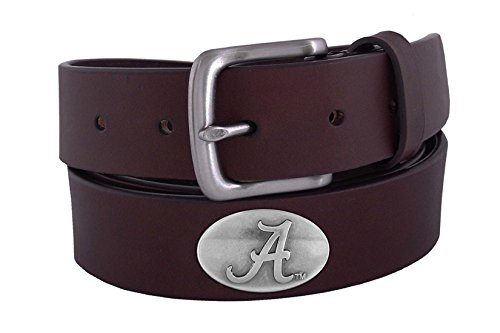 Leather Alabama Crimson Football Tide - NCAA Alabama Crimson Tide Brown Leather Concho Belt, 34